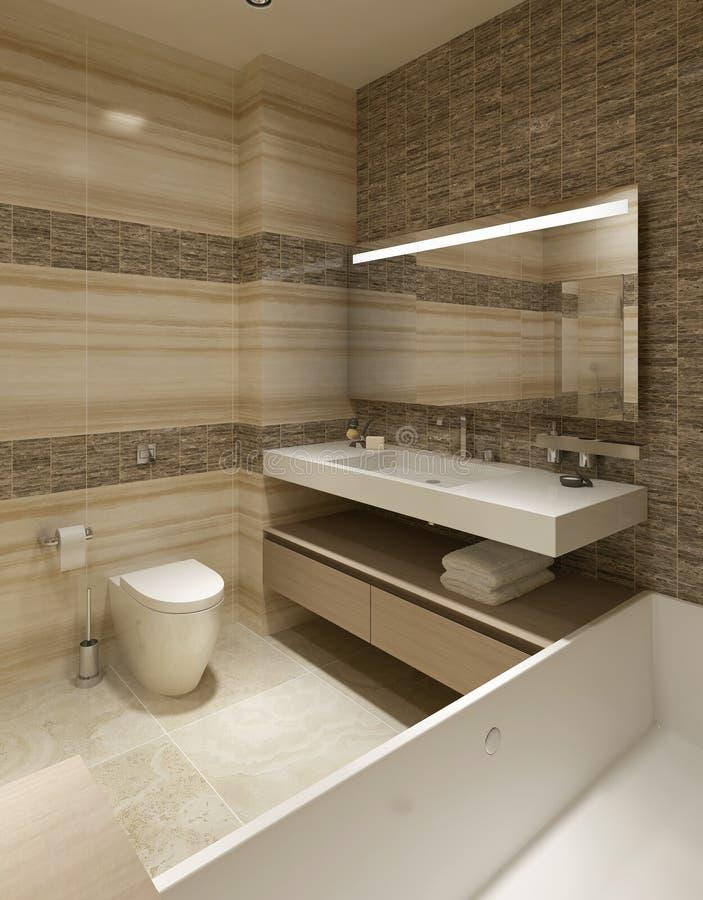 Bagno di stile contemporaneo illustrazione di stock illustrazione di mensole domestico 48272302 - Bagno contemporaneo ...