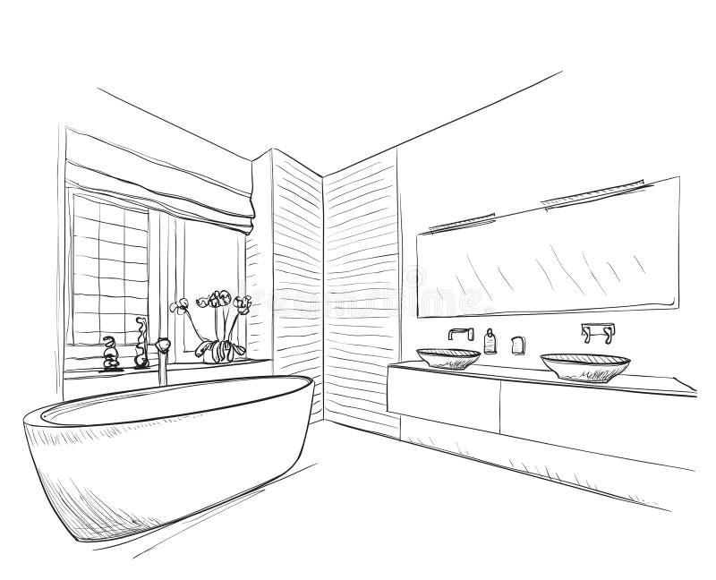Bagno disegnato a mano illustrazione vettoriale. Illustrazione di ...