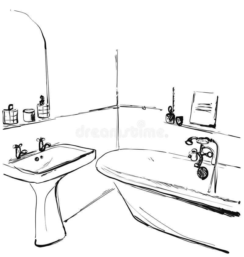 Bagno disegnato a mano Schizzo interno immagine stock libera da diritti