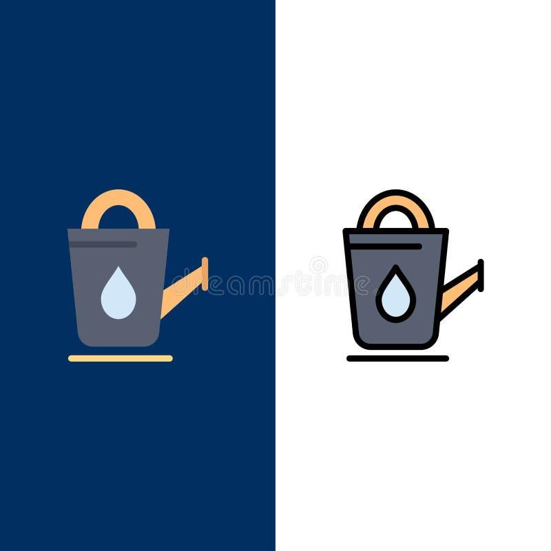 Bagno, bagno, doccia, icone dell'acqua Il piano e la linea icona riempita hanno messo il fondo blu di vettore royalty illustrazione gratis