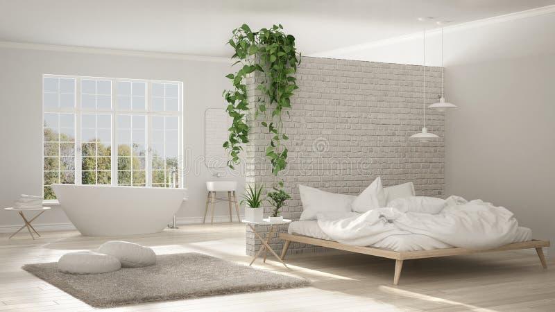 Bagno e camera da letto minimalisti bianchi scandinavi, spazio aperto, illustrazione vettoriale