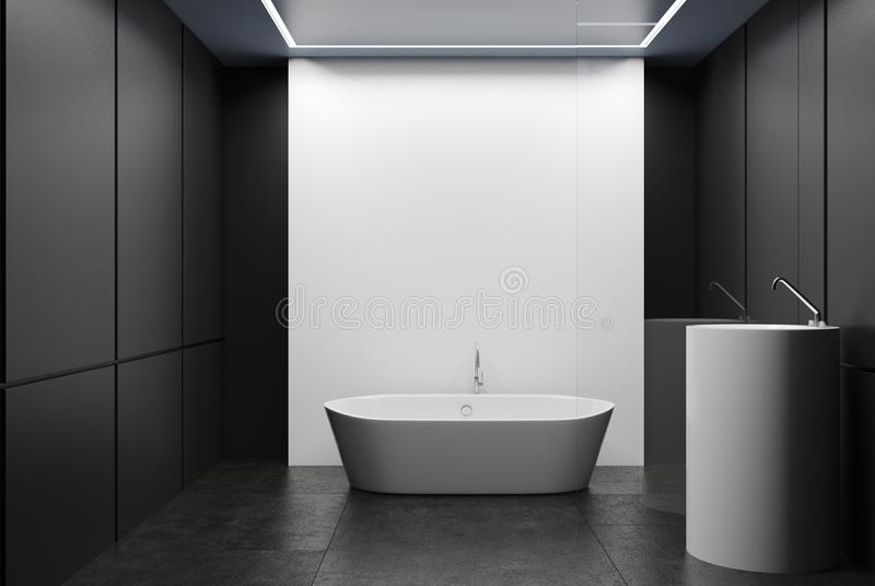 Bagno e di Gray, vasca e lavandino piastrellati bianchi illustrazione di stock