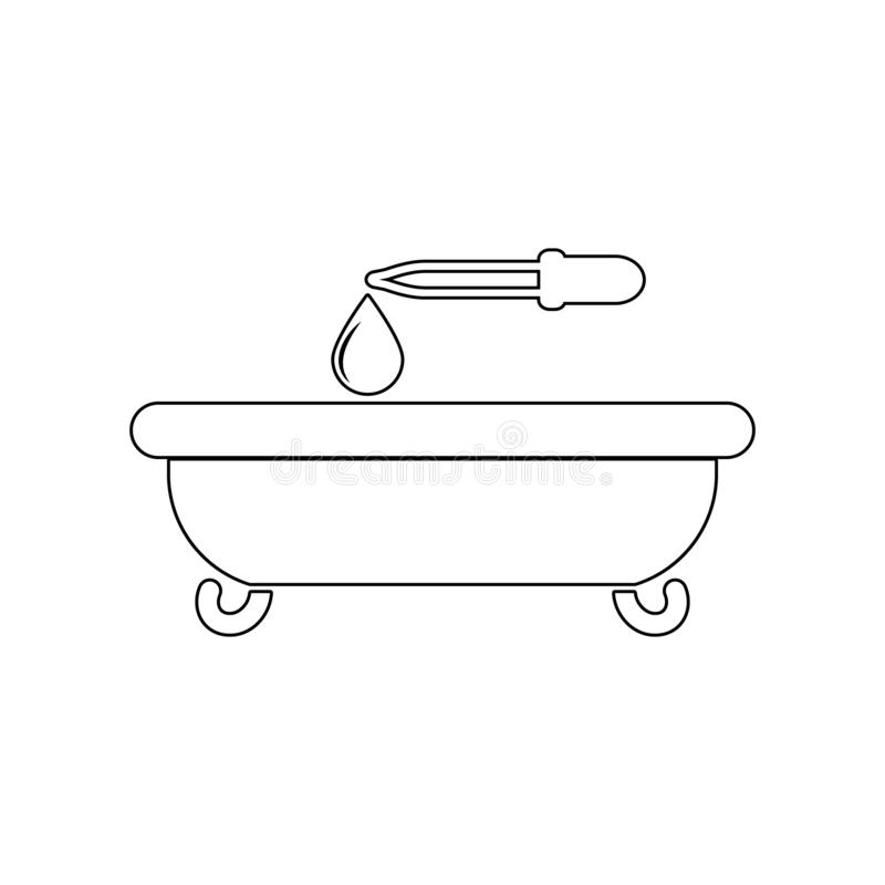 bagno e una goccia di olio con un'icona della pipetta Elemento della STAZIONE TERMALE per il concetto e l'icona mobili dei apps d royalty illustrazione gratis