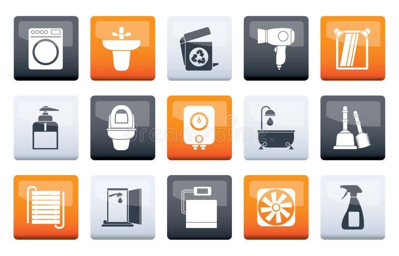 Bagno ed oggetti ed icone della toilette sopra il fondo di colore illustrazione di stock