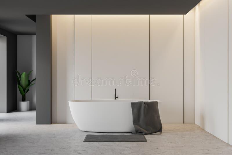 Bagno grigio e bianco con la vasca bianca royalty illustrazione gratis