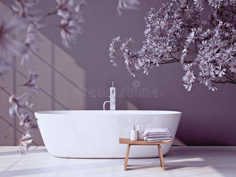 Bagno grigio moderno con la vasca rappresentazione 3d illustrazione di stock