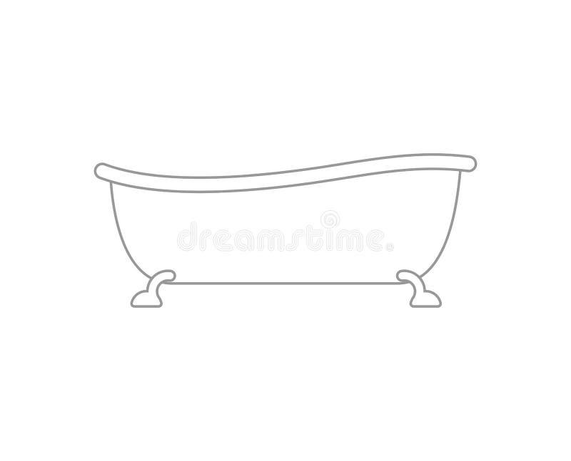 Bagno isolato bathtub Accessorio del bagno Illustrazione di vettore illustrazione di stock