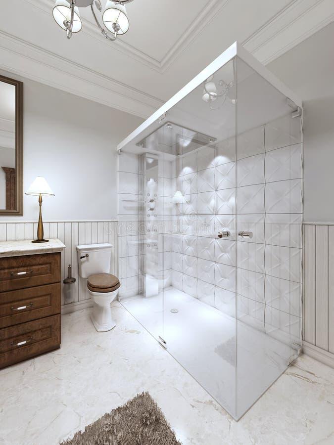 Bagno luminoso nello stile inglese con la grande doccia di - Bagno con doccia grande ...