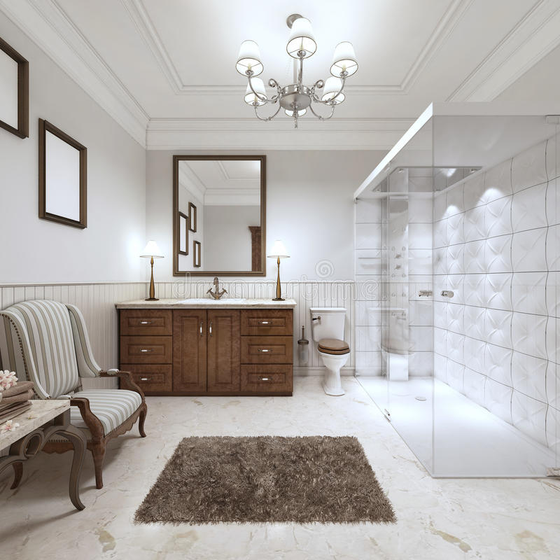 Bagno luminoso nello stile inglese con la grande doccia di vetro illustrazione di stock for Vasca da bagno in inglese