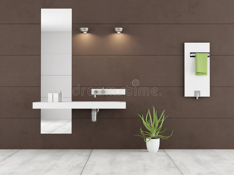 Bagno marrone minimalista illustrazione di stock for Bagno piccolo marrone