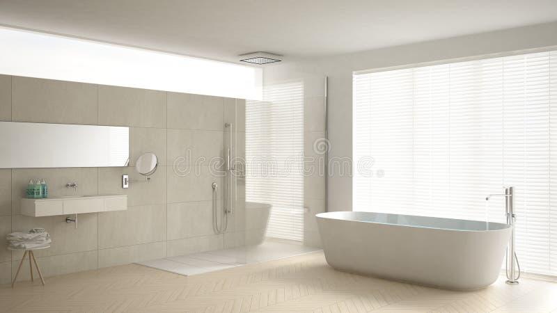 Bagno minimalista con la vasca e doccia pavimento di parquet e m illustrazione di stock - Bagno con parquet ...