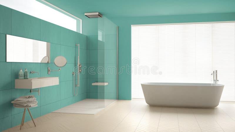 Bagno minimalista con la vasca e doccia, pavimento di parquet e m. fotografia stock