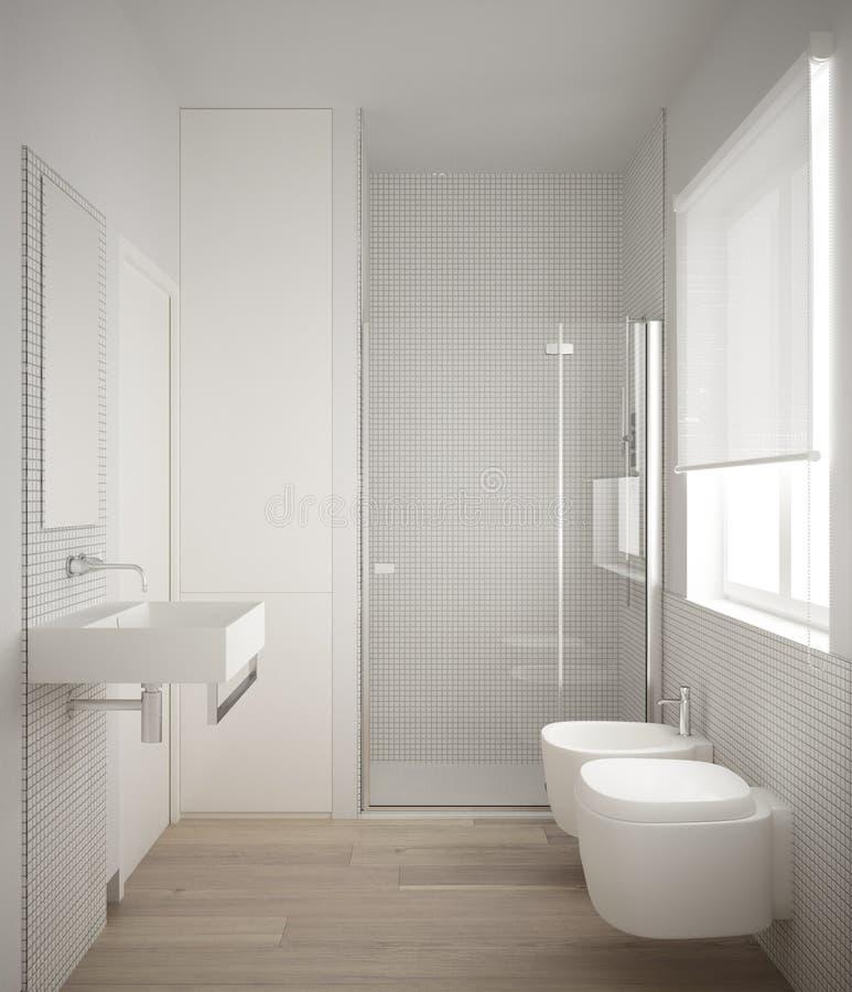 Bagno minimalista moderno con il pavimento di legno di quercia del parquet e la doccia bianca delle tessere, della finestra e del royalty illustrazione gratis
