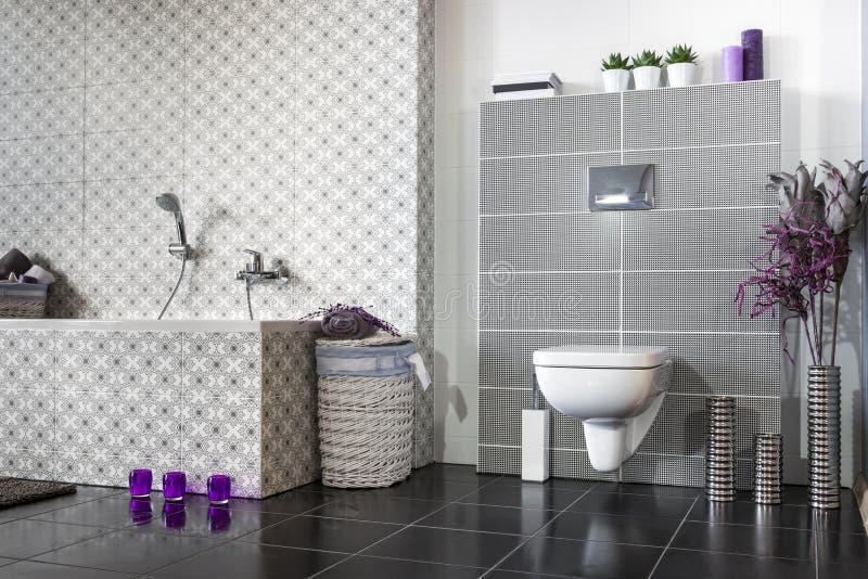 Bagno Moderno In Bianco E Nero Fotografia Stock Immagine