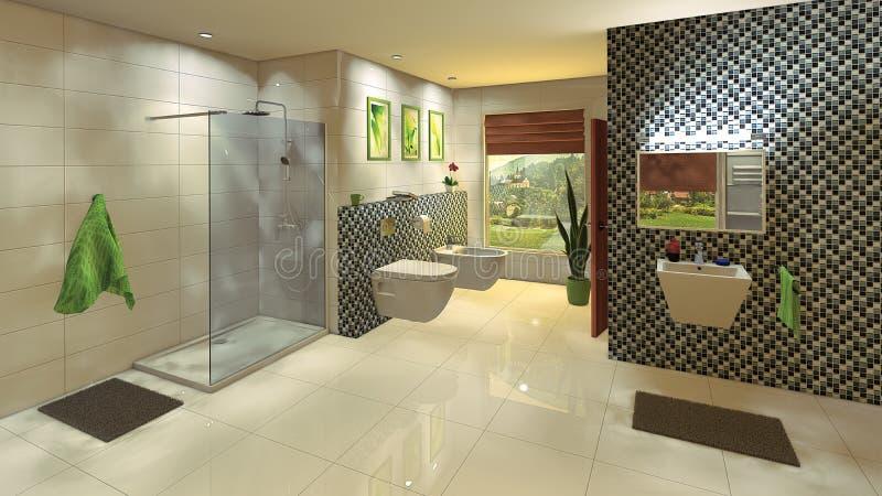 Bagno moderno con la parete del mosaico immagini stock