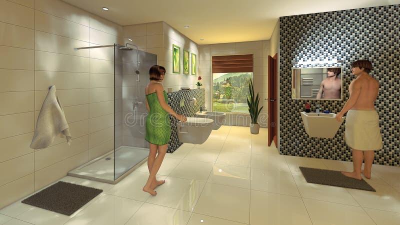 Bagno moderno con la parete del mosaico illustrazione di stock illustrazione di condo casa - Bagno moderno mosaico ...