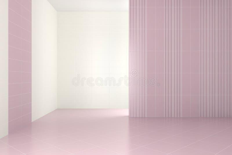 Bagno moderno vuoto con le mattonelle porpora illustrazione di stock
