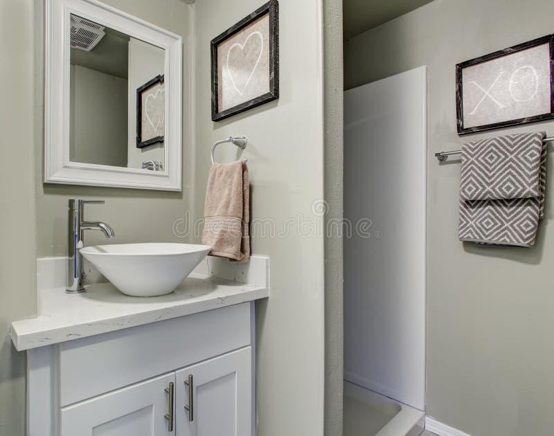 Bagno piacevole con le pareti verdi grige e la decorazione semplice fotografia stock libera da diritti