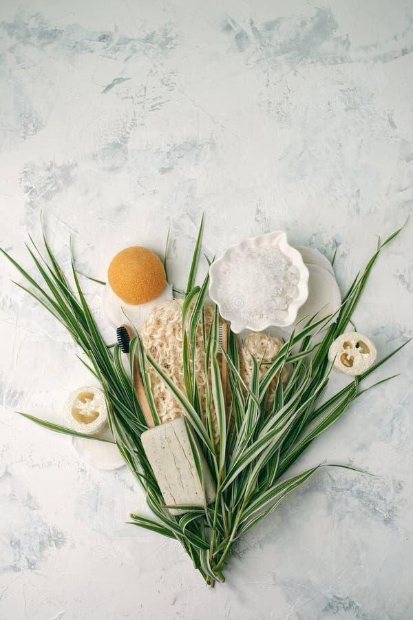 Bagno residuo zero e pulizia Insieme ecologico del bagno Spazzole, spazzolino da denti, sapone, sale marino e foglie verdi immagini stock