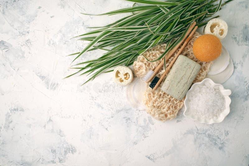 Bagno residuo zero e pulizia Insieme ecologico del bagno Spazzole, spazzolino da denti, sapone, sale marino e foglie verdi, dispo fotografie stock libere da diritti