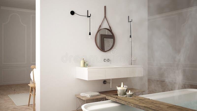 Bagno scandinavo, progettazione minimalistic bianca, reso della stazione termale dell'hotel