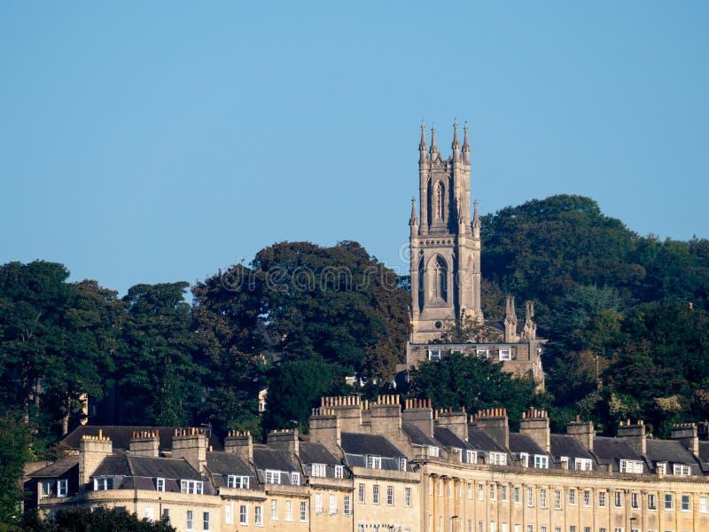 BAGNO, SOMERSET/UK - 2 OTTOBRE: Vista della chiesa di St Stephen dentro immagine stock libera da diritti