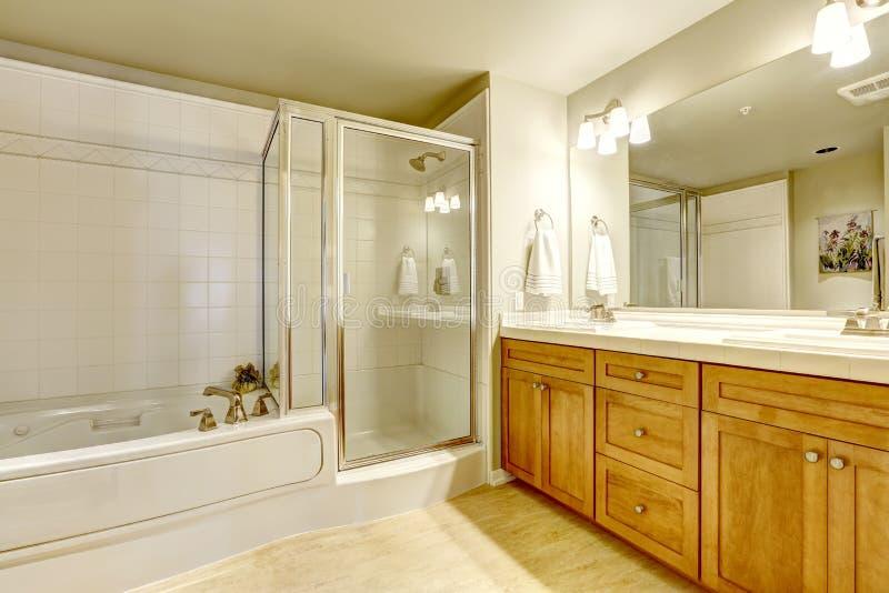 Bagno spazioso con la vasca da bagno e la doccia fotografia stock libera da diritti