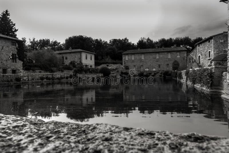 Bagno Vignoni主要温泉水池 免版税库存图片