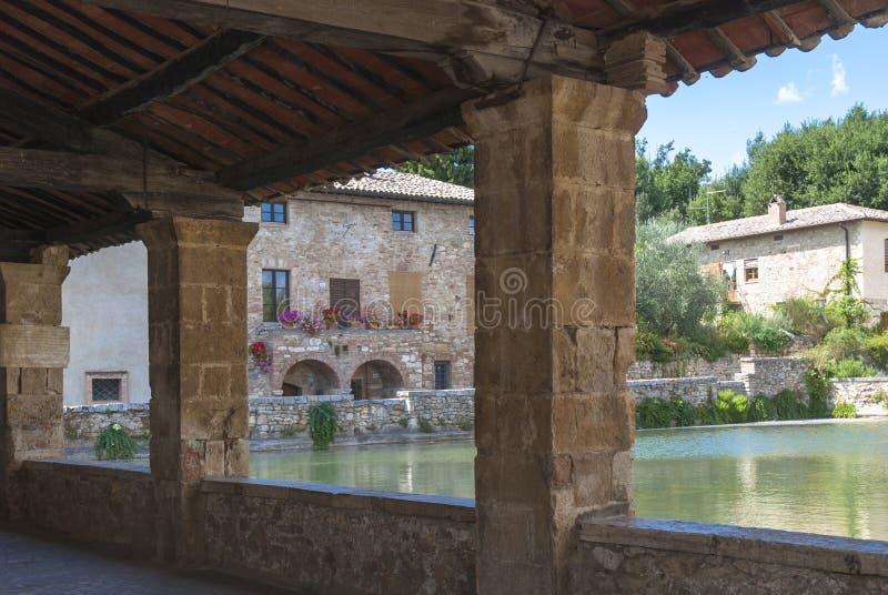 Bagno Vignoni, Toscana, Italia. fotografie stock