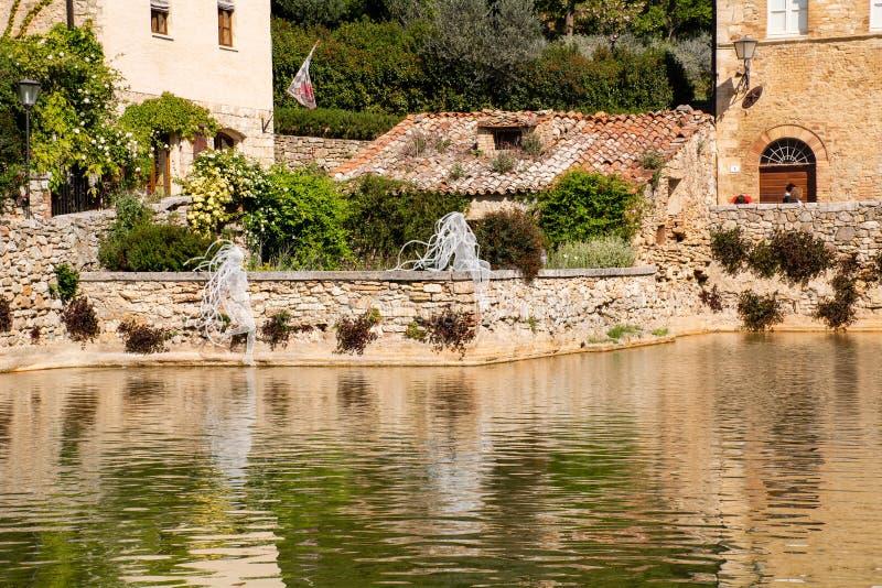 Bagno Vignoni, Toscana Włochy - obraz stock
