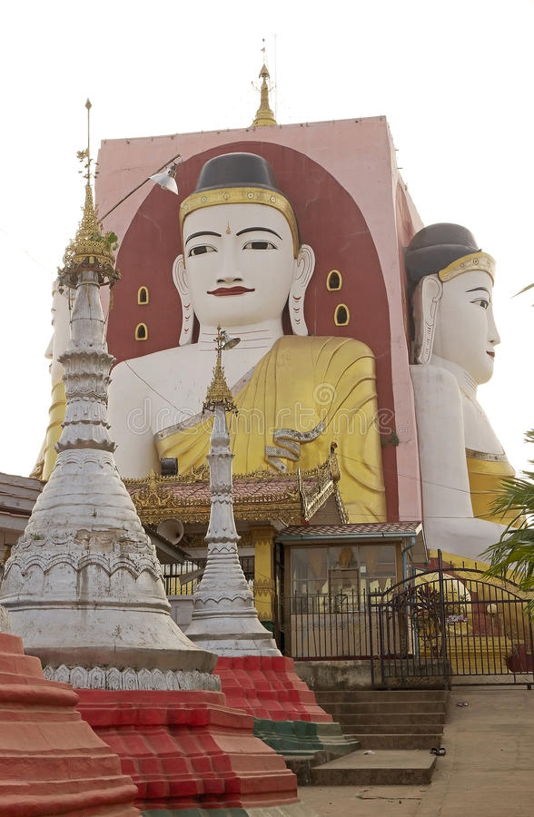 Bago. Kyaik Pun pagoda, Bago, Myanmar. Kyaik Pun pagoda was built in 7th Century and it is the home for the four seated Buddha shrine, a 27 metres statue royalty free stock photo