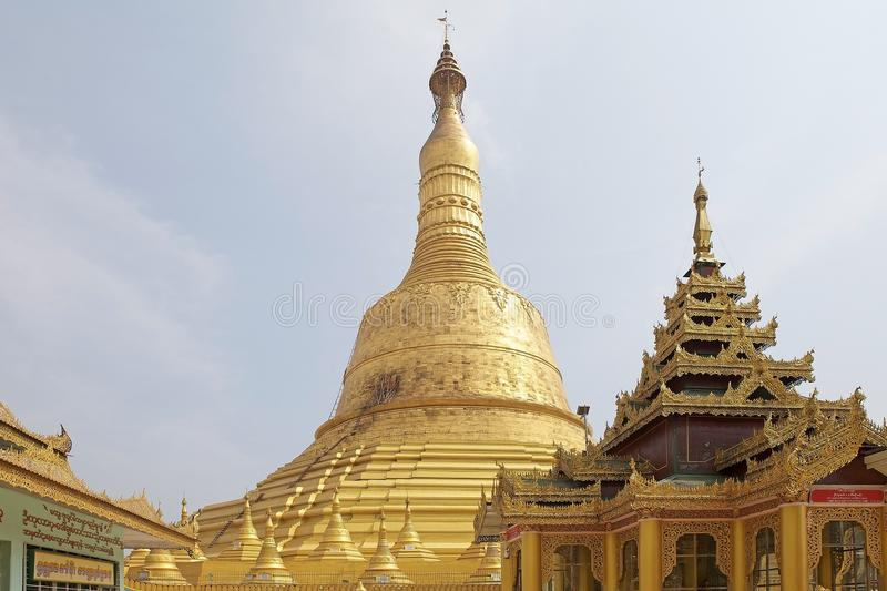 Bago. Shwemawdaw Paya, Bago, Myanmar. Shwemawdaw Paya is a stupa located in Bago, Myanmar. It is often referred to as the Golden God Temple. At 114 m in height stock photos