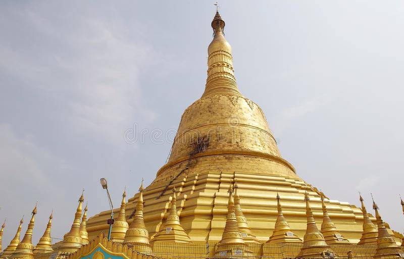 Bago. Shwemawdaw Paya, Bago, Myanmar. Shwemawdaw Paya is a stupa located in Bago, Myanmar. It is often referred to as the Golden God Temple. At 114 m in height royalty free stock image
