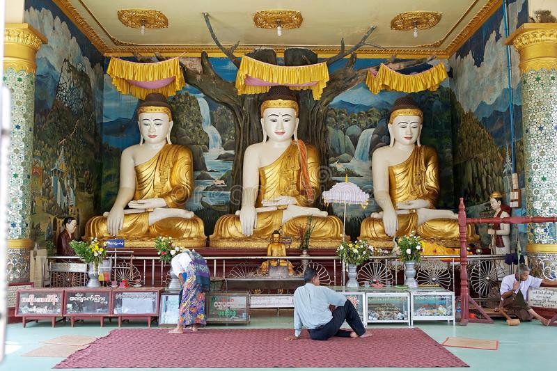 Bago. The three Bhuddas at the Shwemawdaw Paya, Bago, Myanmar. Shwemawdaw Paya is a stupa located in Bago, Myanmar. It is often referred to as the Golden God royalty free stock images