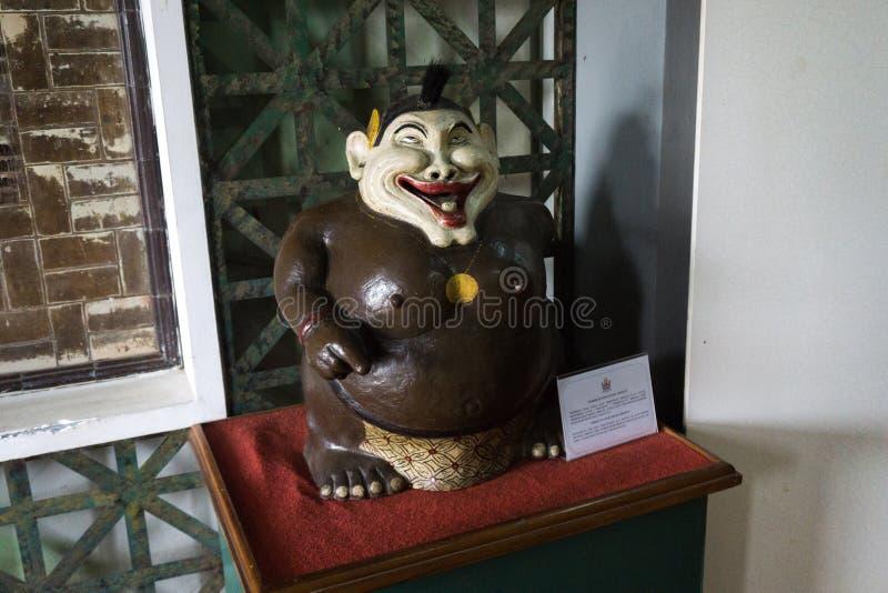 Bagong is een karakter van Wayang Golek als traditioneel die poppenspel op museumfoto wordt getoond in Djakarta Indonesië wordt g stock afbeelding