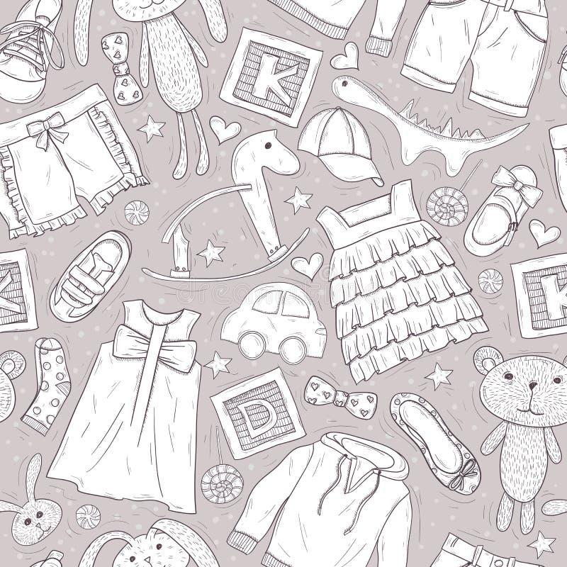 Bagout mignon avec des jouets et des vêtements pour des enfants illustration libre de droits