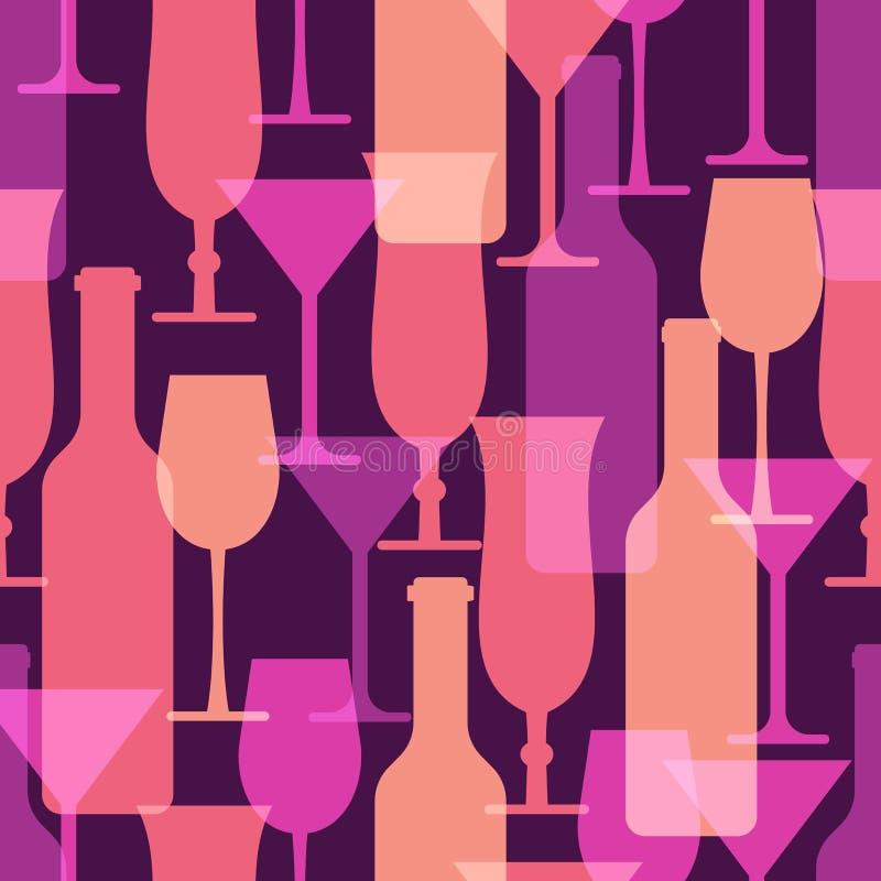 Bagout sans couture coloré abstrait en verre de cocktail et de bouteille de vin illustration libre de droits