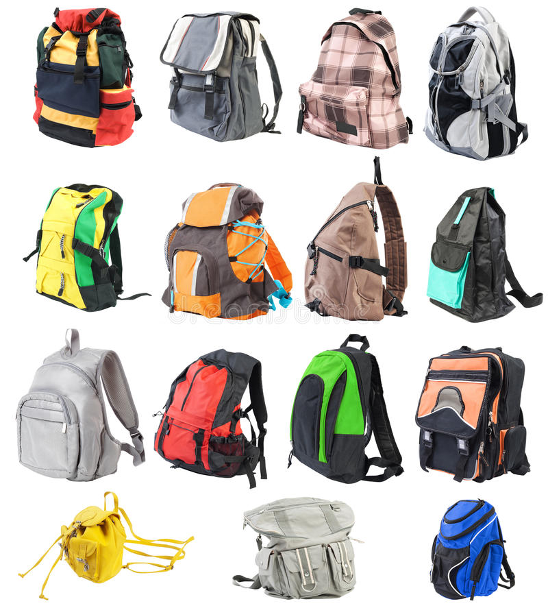 Bagpack set #1   Isolated stock images