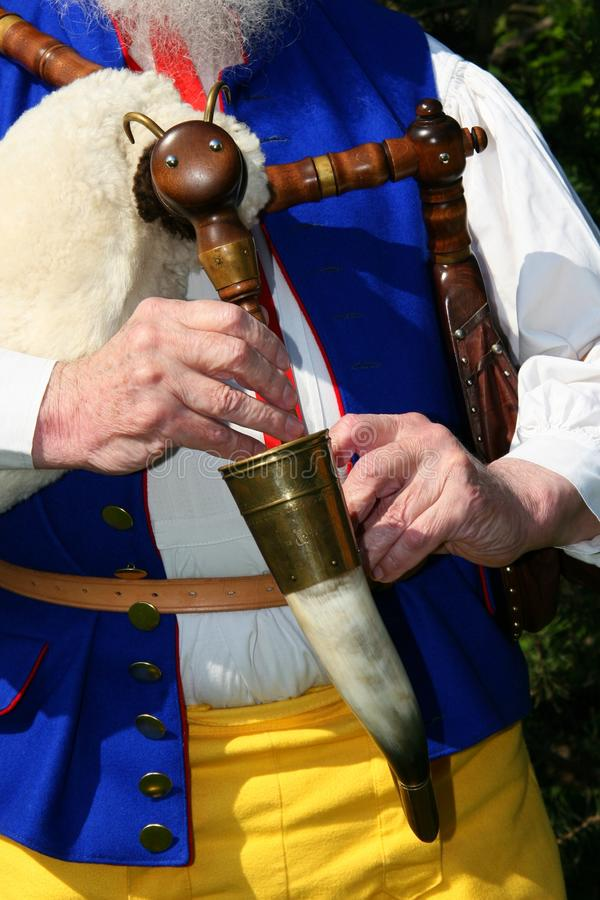 Bagpipe. Detail of bagpipe, in Strakonice, south Bohemia, Czech republic stock image