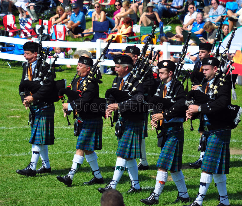 Bagpipe Band. Performs at the annual Glengarry Highland Games August 1, 2009 in Maxville, Ontario royalty free stock photos