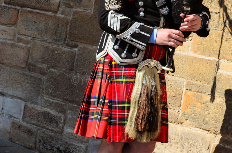 Bagpipe player. Typical bagpipe player in Edinburgh, Scotland royalty free stock images