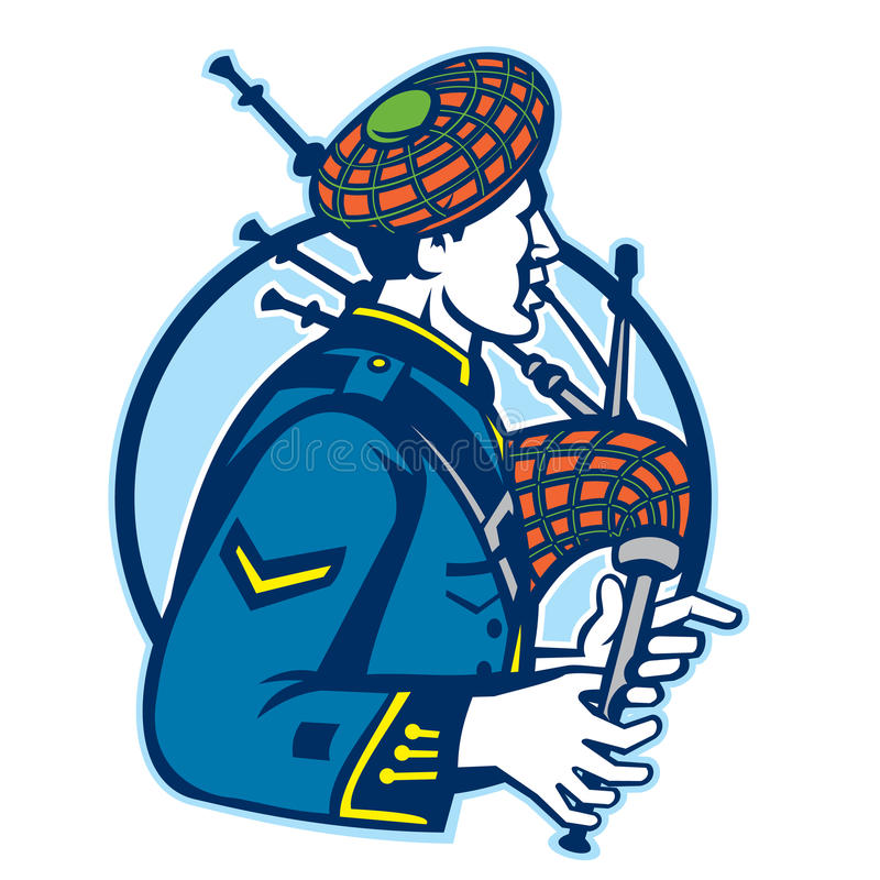 Bagpiper Bagpipes Scotsman Retro. Illustration of a scotsman bagpiper playing bagpipes viewed from side set inside circle stock illustration