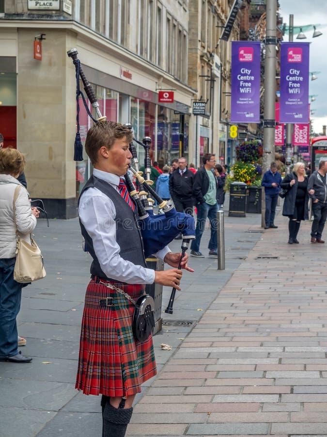 Bagpiper, Buchanan Street, Glasgow royalty free stock photos
