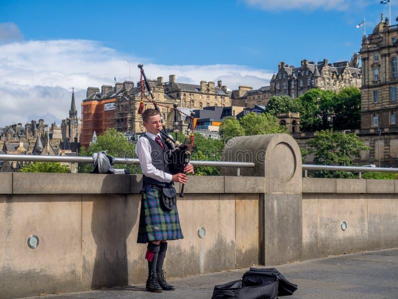 Bagpiper, Edinburgh stock photos