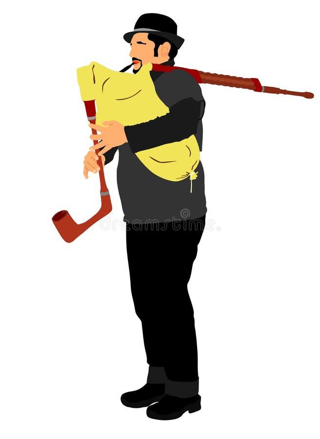bagpiper Muzyczna wykonawca sztuki kobza, drymby ilustracji