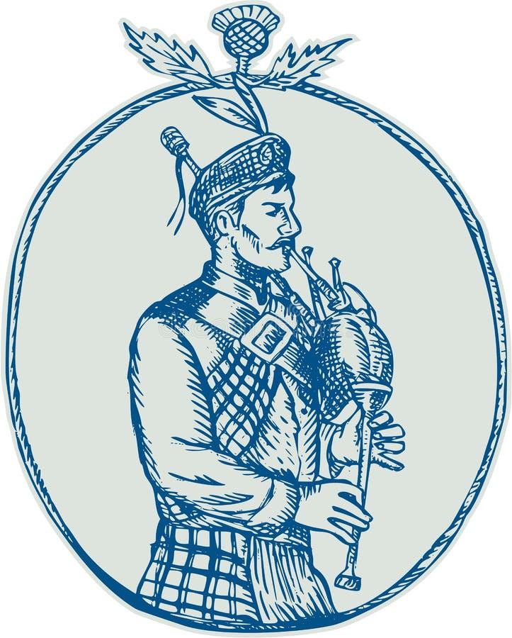 Bagpiper Scotsman που παίζει Bagpipes χαρακτική απεικόνιση αποθεμάτων