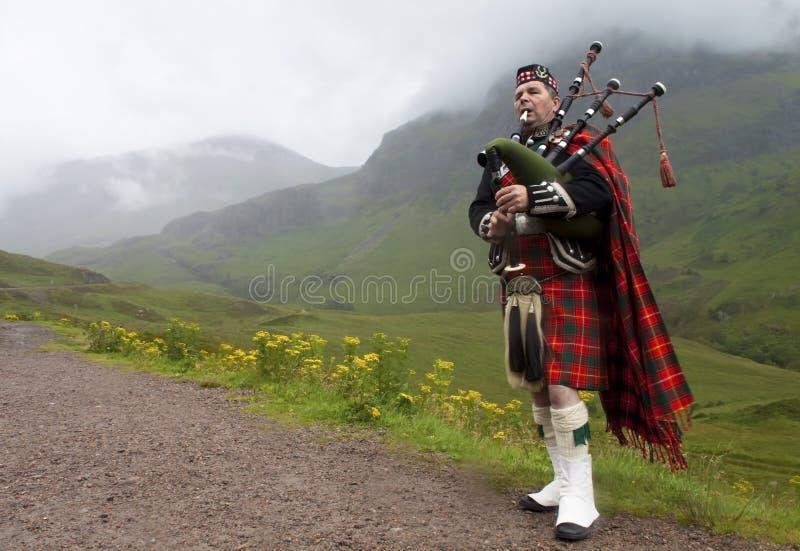 Bagpiper van het hoogland, Schotland stock foto