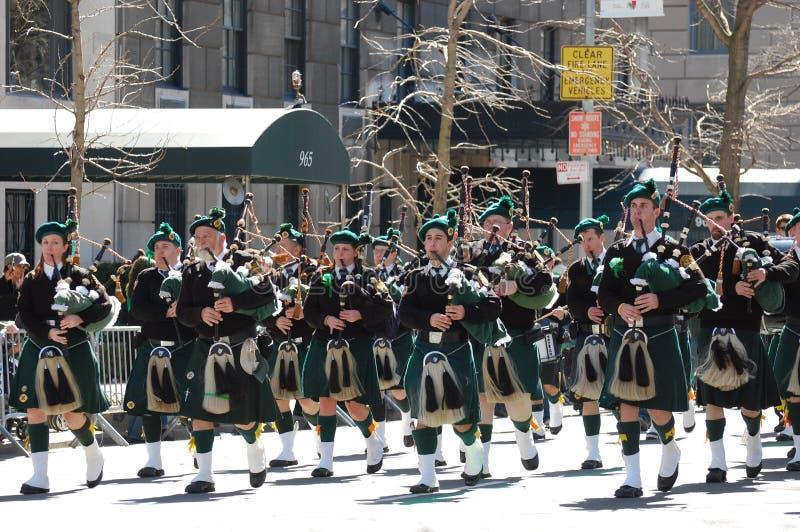 Bagpipers in de Parade van Heilige Patrick van de Stad van New York stock foto's