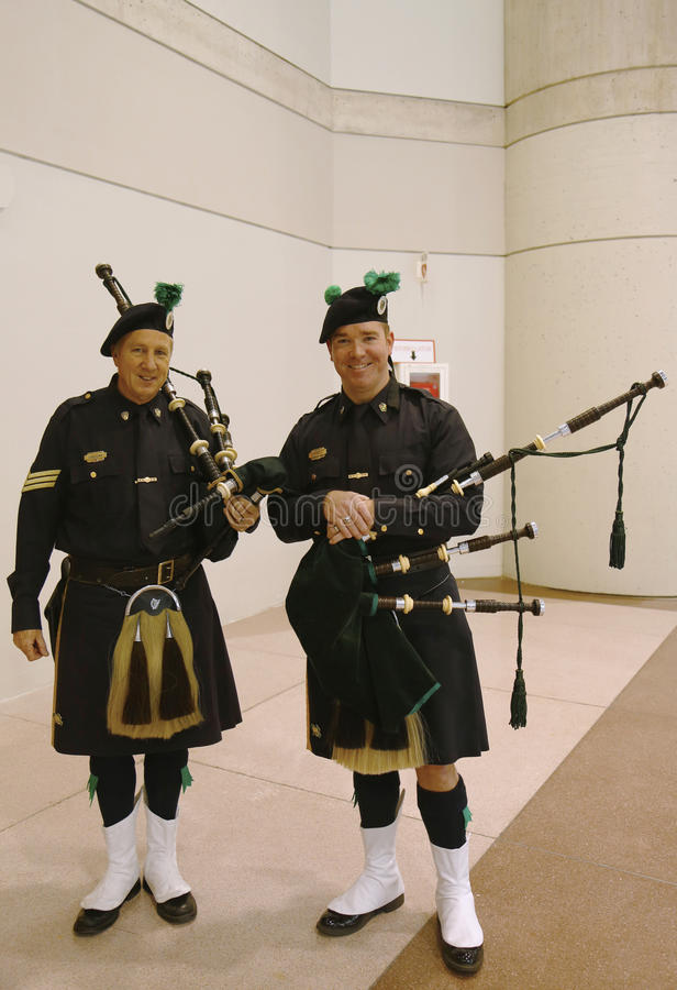 Bagpipers van NYPD Emerald Society in New York royalty-vrije stock foto's