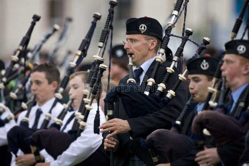 Bagpipes ai giochi dell'altopiano in Scozia fotografie stock